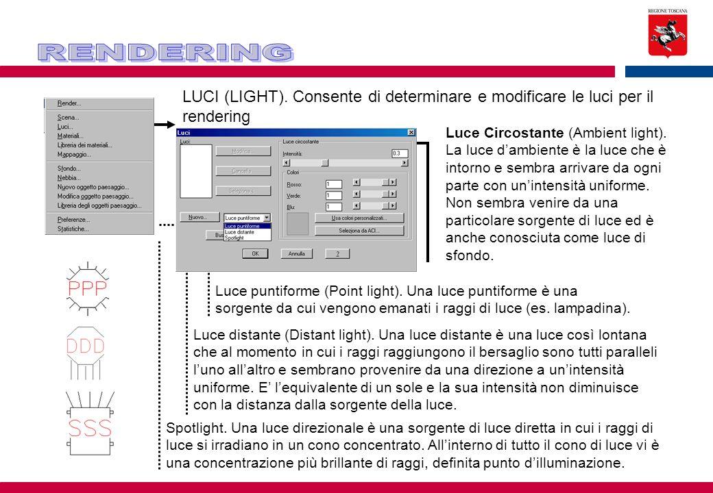LUCI (LIGHT). Consente di determinare e modificare le luci per il rendering Luce Circostante (Ambient light). La luce d'ambiente è la luce che è intor
