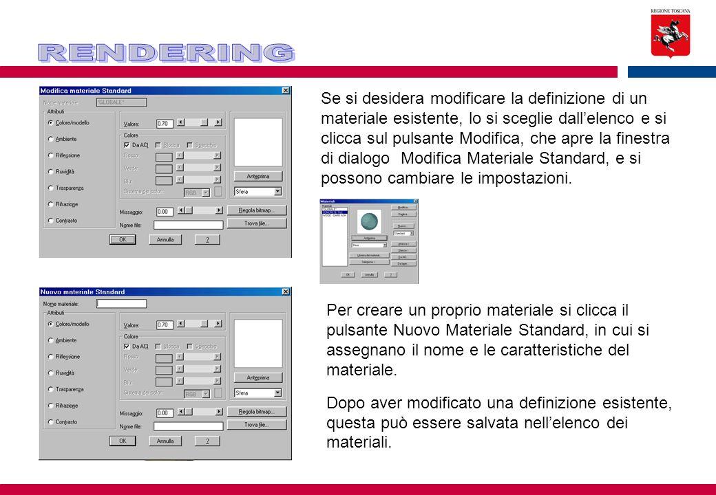 Se si desidera modificare la definizione di un materiale esistente, lo si sceglie dall'elenco e si clicca sul pulsante Modifica, che apre la finestra