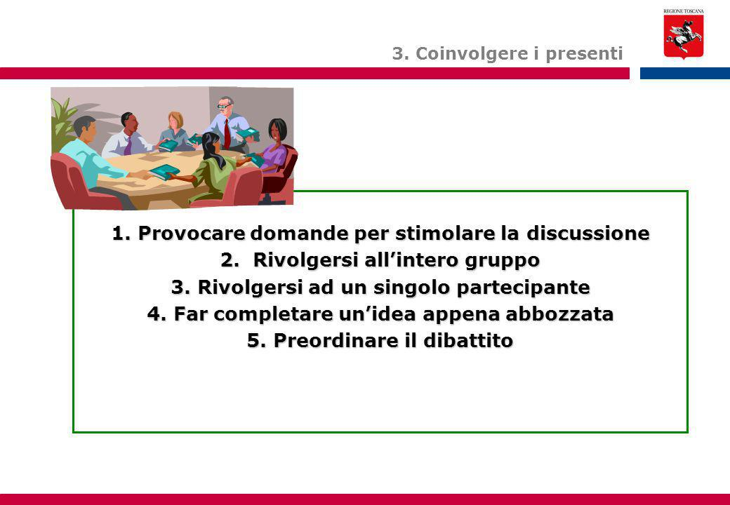 1. Provocare domande per stimolare la discussione 2. Rivolgersi all'intero gruppo 3. Rivolgersi ad un singolo partecipante 4. Far completare un'idea a