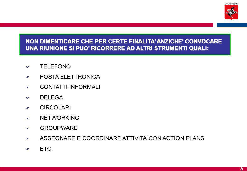 8 NON DIMENTICARE CHE PER CERTE FINALITA' ANZICHE' CONVOCARE UNA RIUNIONE SI PUO' RICORRERE AD ALTRI STRUMENTI QUALI:  TELEFONO  POSTA ELETTRONICA  CONTATTI INFORMALI  DELEGA  CIRCOLARI  NETWORKING  GROUPWARE  ASSEGNARE E COORDINARE ATTIVITA' CON ACTION PLANS  ETC.