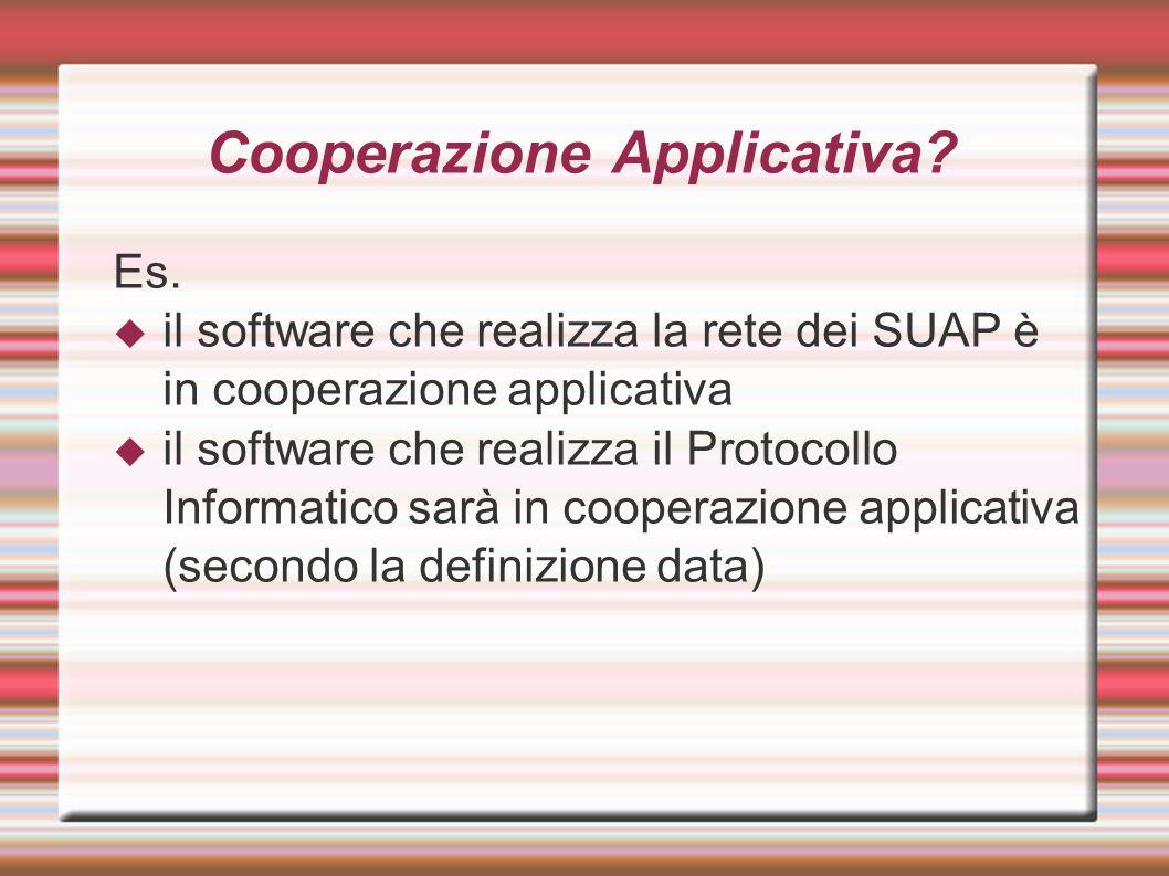 Cooperazione Applicativa? Es.  il software che realizza la rete dei SUAP è in cooperazione applicativa  il software che realizza il Protocollo Infor