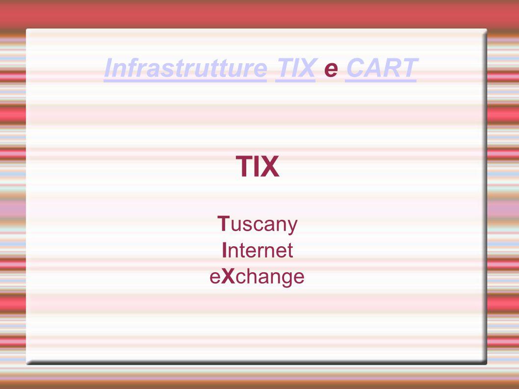 Progetto TIX Il TIX nasce come iniziativa nel Piano Regionale di e-government (e.Toscana) nel settore delle azioni infrastrutturali