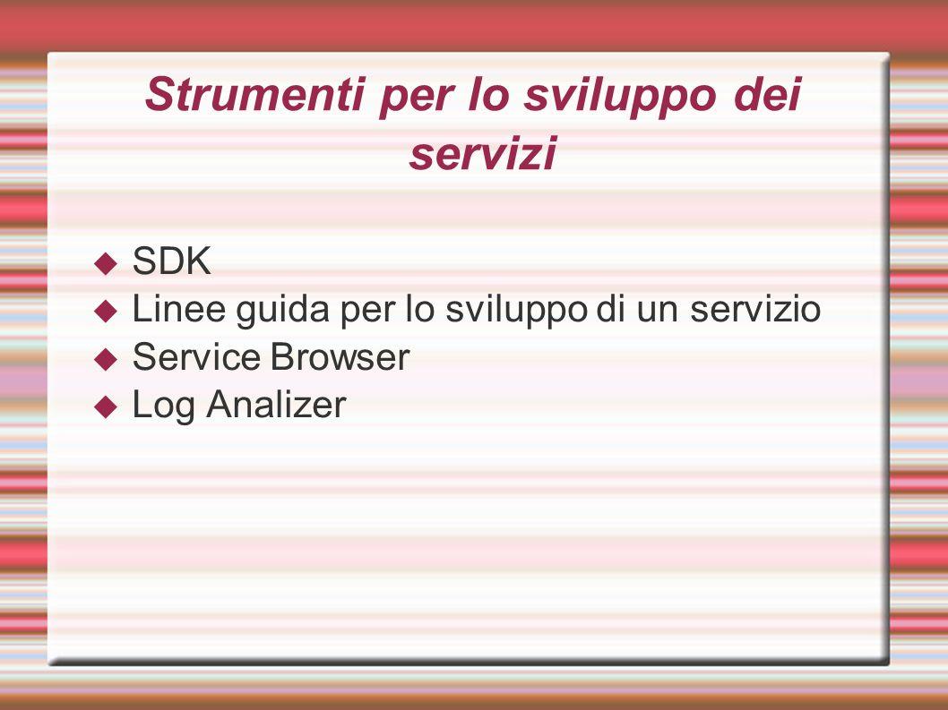 Strumenti per lo sviluppo dei servizi  SDK  Linee guida per lo sviluppo di un servizio  Service Browser  Log Analizer