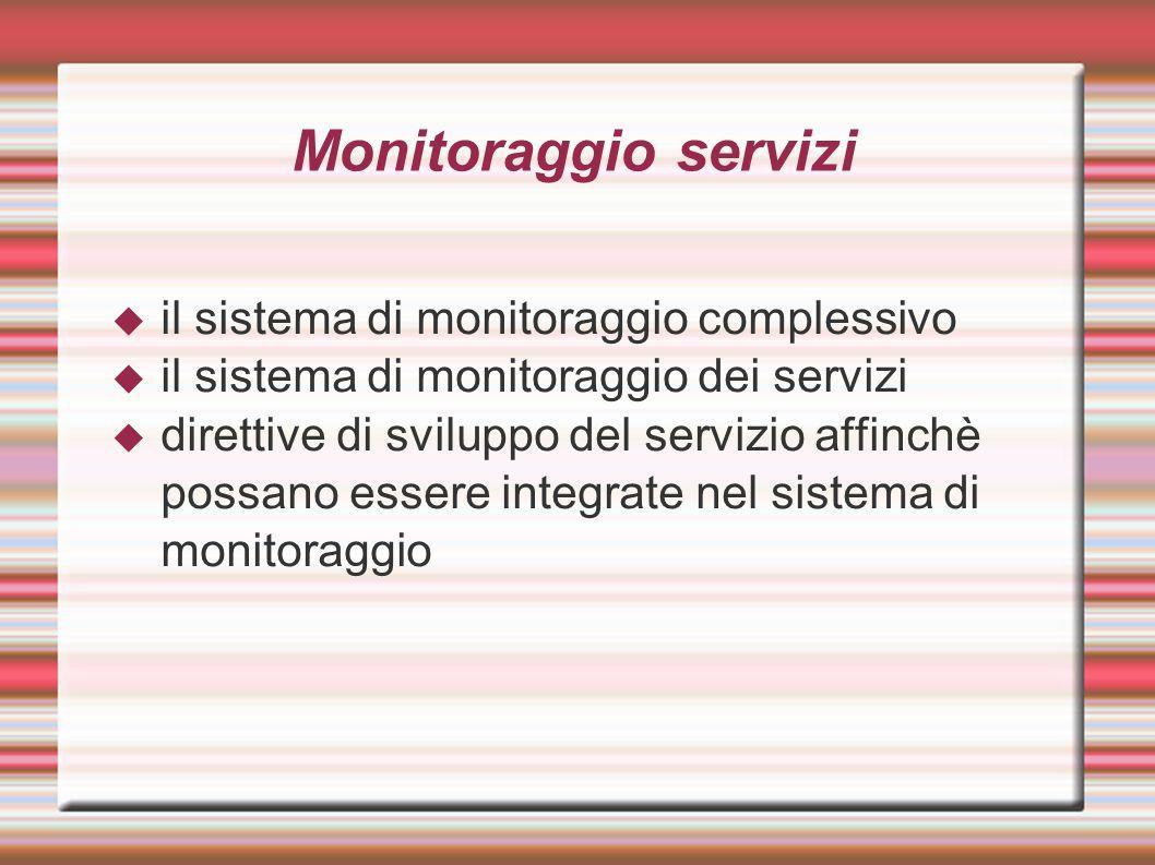 Monitoraggio servizi  il sistema di monitoraggio complessivo  il sistema di monitoraggio dei servizi  direttive di sviluppo del servizio affinchè possano essere integrate nel sistema di monitoraggio