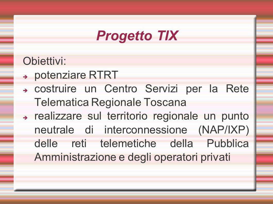 Progetto TIX Obiettivi:  potenziare RTRT  costruire un Centro Servizi per la Rete Telematica Regionale Toscana  realizzare sul territorio regionale un punto neutrale di interconnessione (NAP/IXP) delle reti telemetiche della Pubblica Amministrazione e degli operatori privati