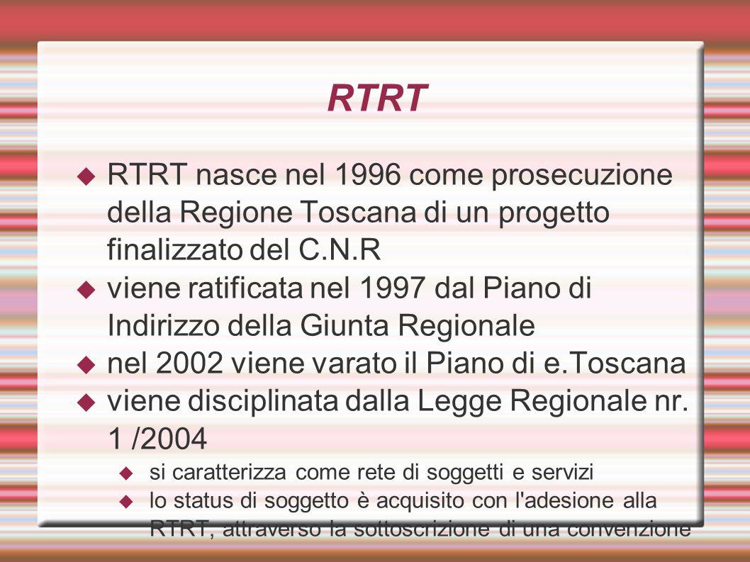 RTRT  RTRT nasce nel 1996 come prosecuzione della Regione Toscana di un progetto finalizzato del C.N.R  viene ratificata nel 1997 dal Piano di Indir