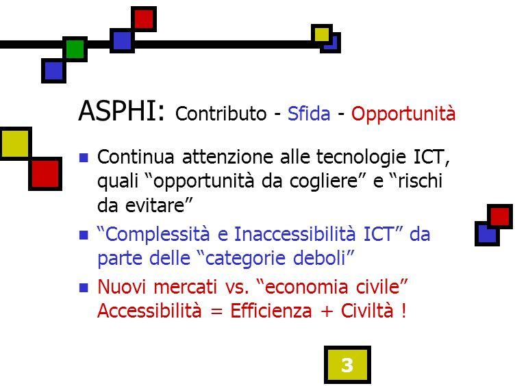 3 ASPHI: Contributo - Sfida - Opportunità Continua attenzione alle tecnologie ICT, quali opportunità da cogliere e rischi da evitare Complessità e Inaccessibilità ICT da parte delle categorie deboli Nuovi mercati vs.