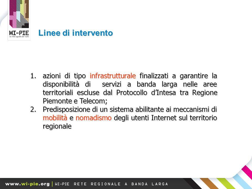 Linee di intervento 1.azioni di tipo infrastrutturale finalizzati a garantire la disponibilità di servizi a banda larga nelle aree territoriali escluse dal Protocollo d'Intesa tra Regione Piemonte e Telecom; 2.Predisposizione di un sistema abilitante ai meccanismi di mobilità e nomadismo degli utenti Internet sul territorio regionale