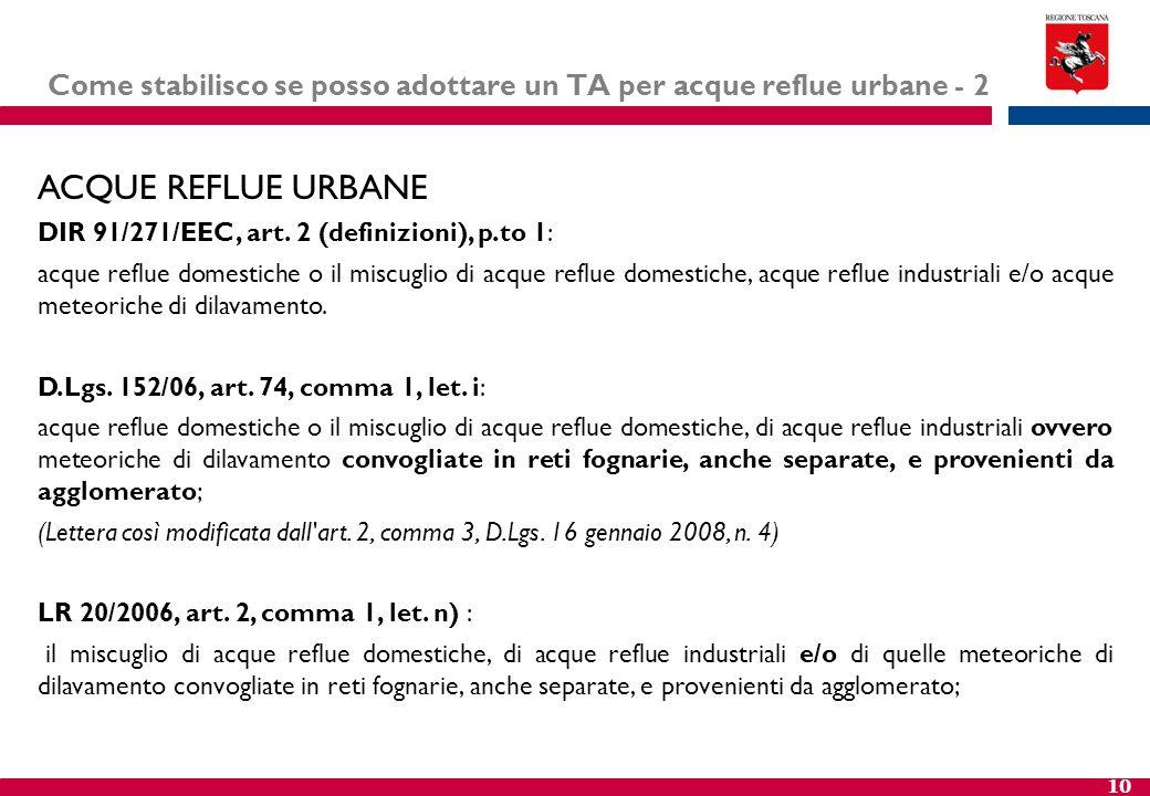 10 Come stabilisco se posso adottare un TA per acque reflue urbane - 2 ACQUE REFLUE URBANE DIR 91/271/EEC, art. 2 (definizioni), p.to 1: acque reflue