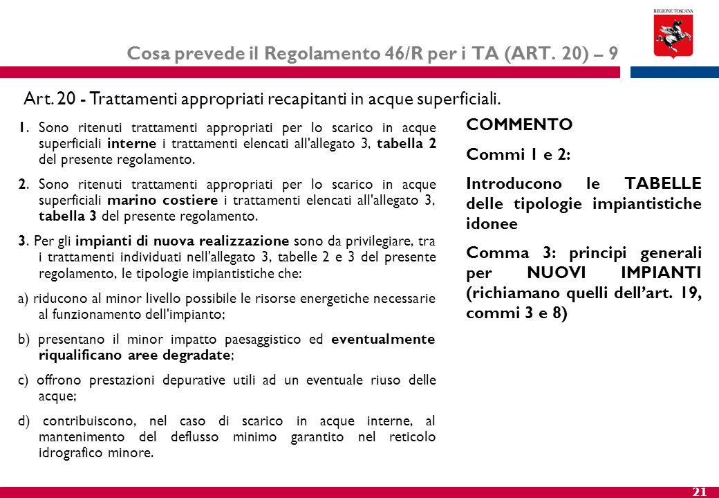 21 Cosa prevede il Regolamento 46/R per i TA (ART. 20) – 9 1. Sono ritenuti trattamenti appropriati per lo scarico in acque superficiali interne i tra