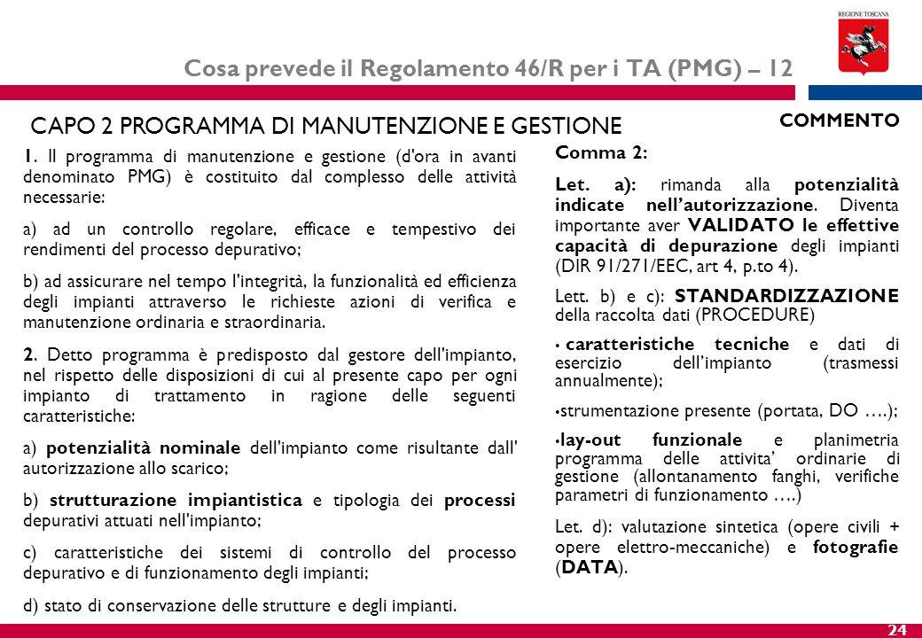 24 Cosa prevede il Regolamento 46/R per i TA (PMG) – 12 1. Il programma di manutenzione e gestione (d'ora in avanti denominato PMG) è costituito dal c