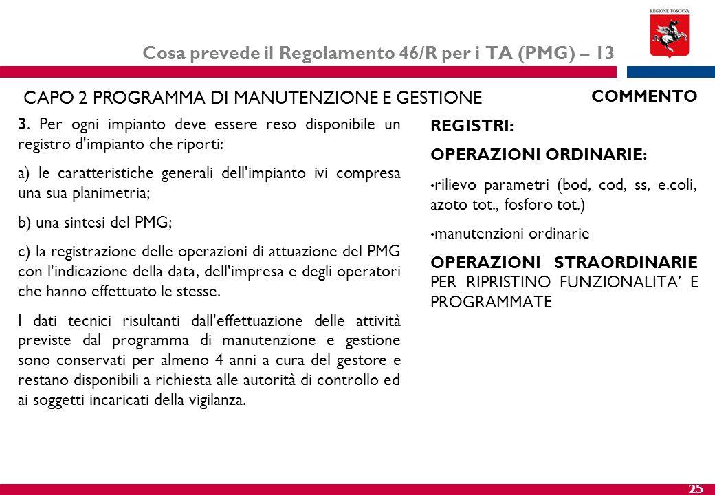 25 Cosa prevede il Regolamento 46/R per i TA (PMG) – 13 3. Per ogni impianto deve essere reso disponibile un registro d'impianto che riporti: a) le ca