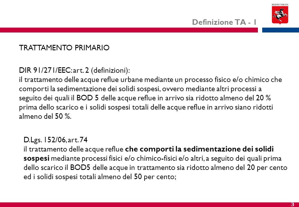 3 Definizione TA - 1 DIR 91/271/EEC: art. 2 (definizioni): il trattamento delle acque reflue urbane mediante un processo fisico e/o chimico che compor