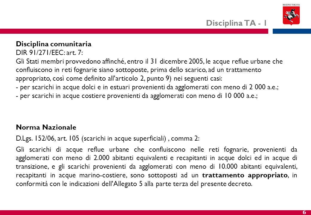 6 Disciplina TA - 1 Disciplina comunitaria DIR 91/271/EEC: art. 7: Gli Stati membri provvedono affinché, entro il 31 dicembre 2005, le acque reflue ur