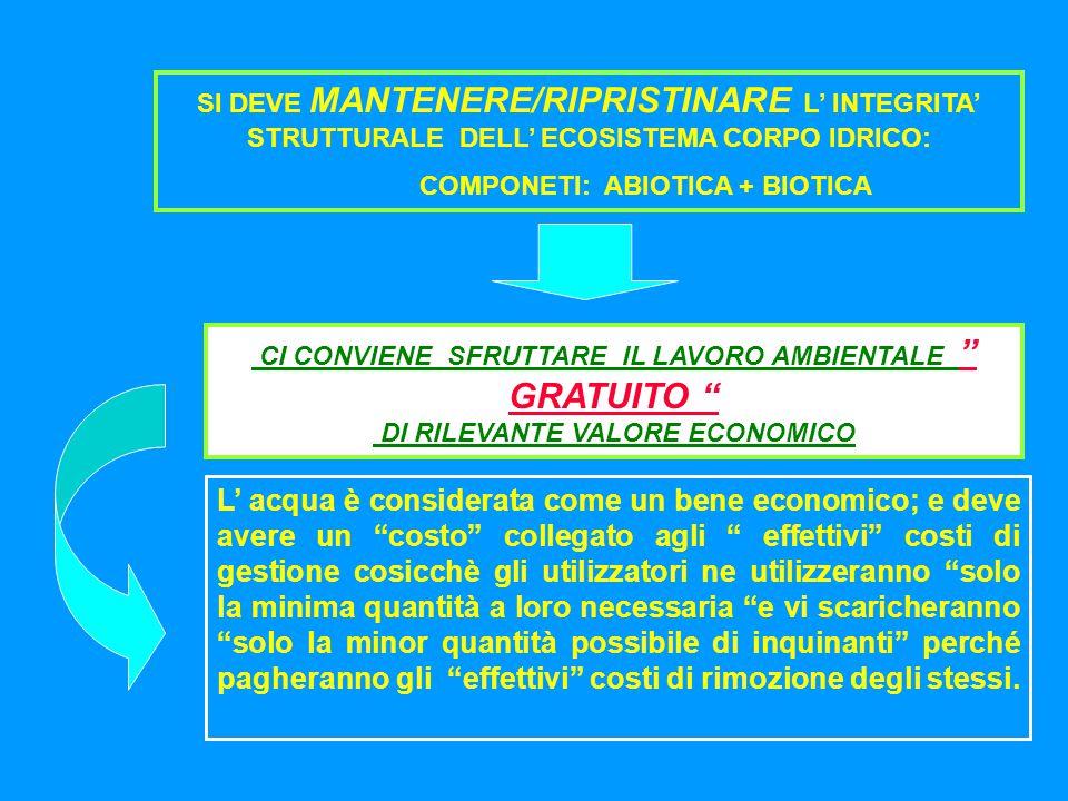 SI DEVE MANTENERE/RIPRISTINARE L' INTEGRITA' STRUTTURALE DELL' ECOSISTEMA CORPO IDRICO: COMPONETI: ABIOTICA + BIOTICA CI CONVIENE SFRUTTARE IL LAVORO AMBIENTALE GRATUITO DI RILEVANTE VALORE ECONOMICO L' acqua è considerata come un bene economico; e deve avere un costo collegato agli effettivi costi di gestione cosicchè gli utilizzatori ne utilizzeranno solo la minima quantità a loro necessaria e vi scaricheranno solo la minor quantità possibile di inquinanti perché pagheranno gli effettivi costi di rimozione degli stessi.