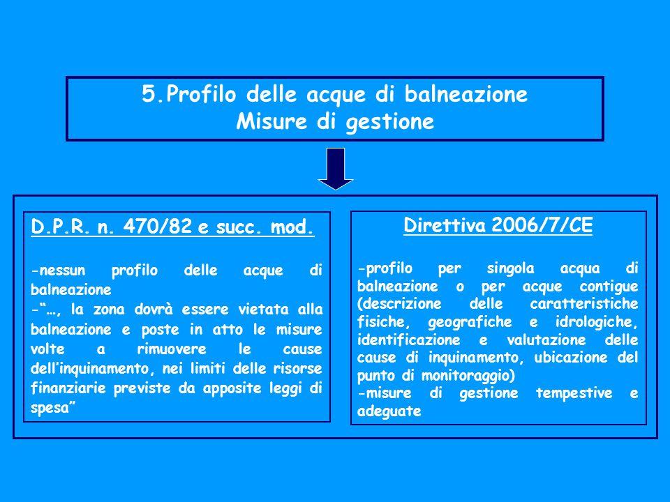 5.Profilo delle acque di balneazione Misure di gestione D.P.R.