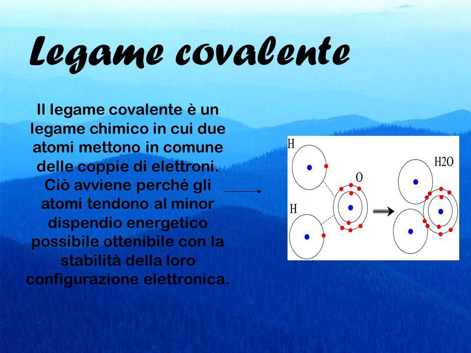 Legame covalente Il legame covalente è un legame chimico in cui due atomi mettono in comune delle coppie di elettroni. Ciò avviene perché gli atomi te