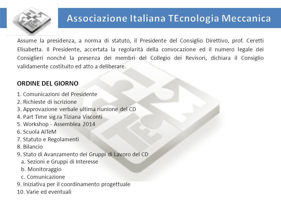 UNIVERSITA' DEGLI STUDI DI ROMA TOR VERGATA DIPARTIMENTO DI INGEGNERIA INDUSTRIALE ORDINE DEL GIORNO 1.