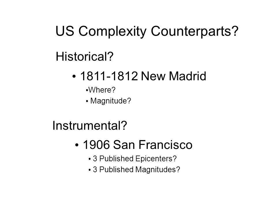Nuovi dati macrosismici e loro utilizzoBologna, 23 giugno 2008 US Complexity Counterparts? Historical? Instrumental? 1811-1812 New Madrid Where? Magni