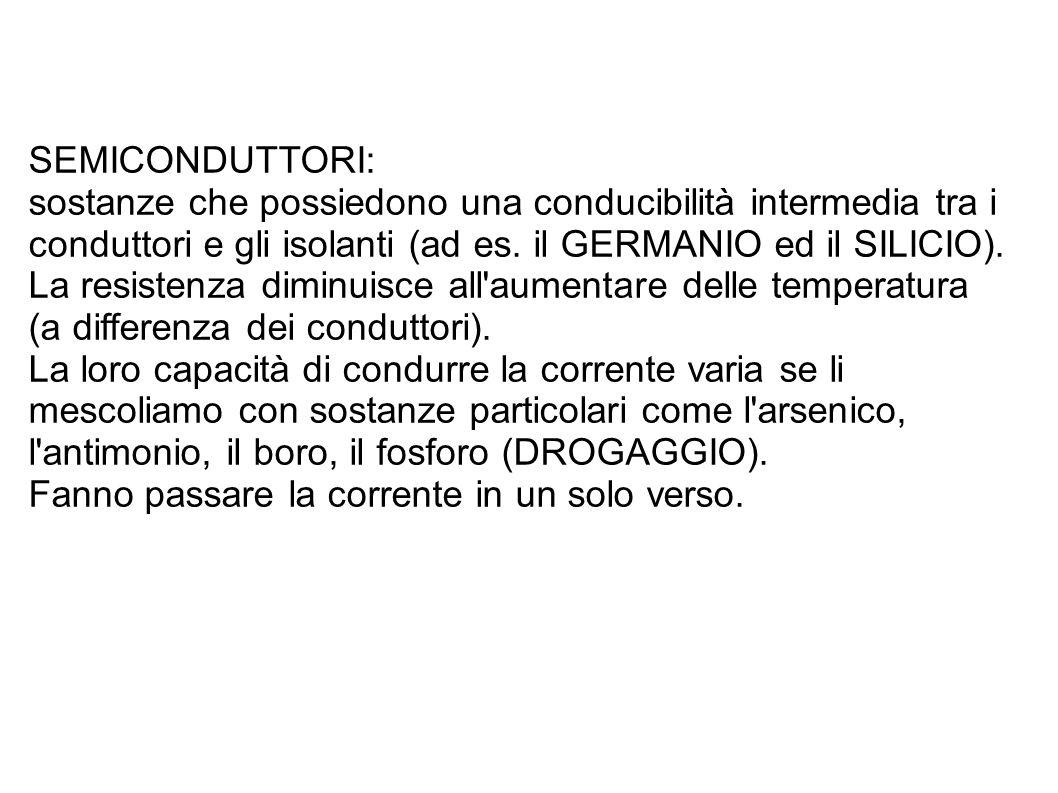 SEMICONDUTTORI: sostanze che possiedono una conducibilità intermedia tra i conduttori e gli isolanti (ad es.