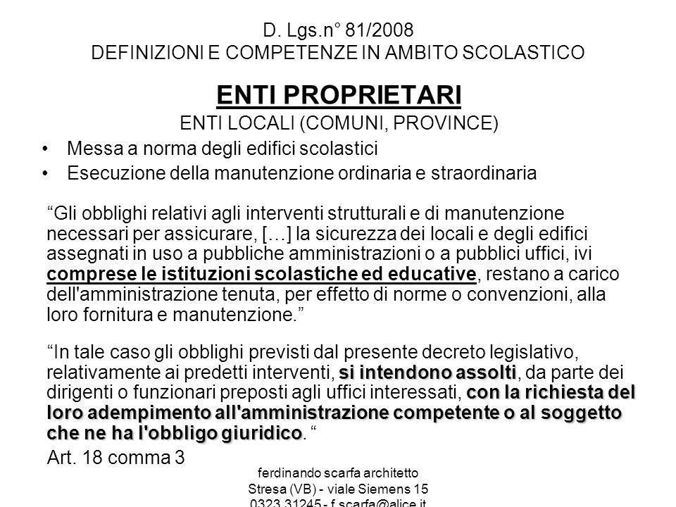 ferdinando scarfa architetto Stresa (VB) - viale Siemens 15 0323.31245 - f.scarfa@alice.it D.