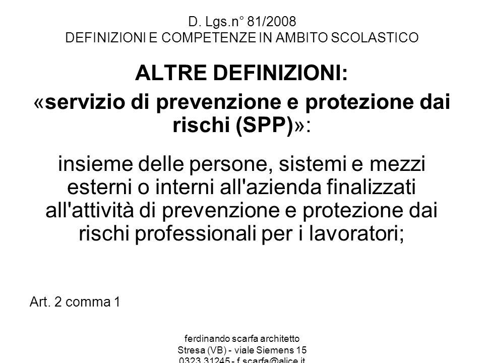 ferdinando scarfa architetto Stresa (VB) - viale Siemens 15 0323.31245 - f.scarfa@alice.it D. Lgs.n° 81/2008 DEFINIZIONI E COMPETENZE IN AMBITO SCOLAS