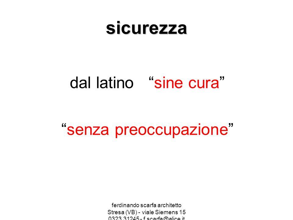 """ferdinando scarfa architetto Stresa (VB) - viale Siemens 15 0323.31245 - f.scarfa@alice.it sicurezza dal latino """"sine cura"""" """"senza preoccupazione"""""""