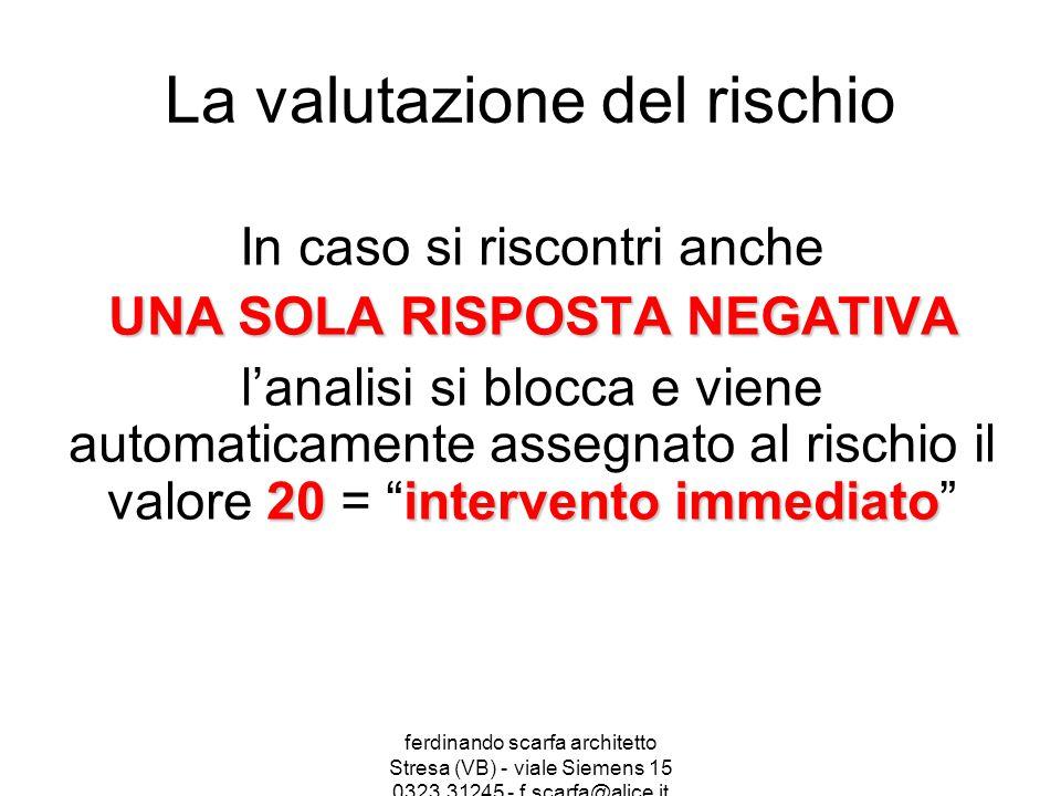 ferdinando scarfa architetto Stresa (VB) - viale Siemens 15 0323.31245 - f.scarfa@alice.it La valutazione del rischio In caso si riscontri anche UNA S