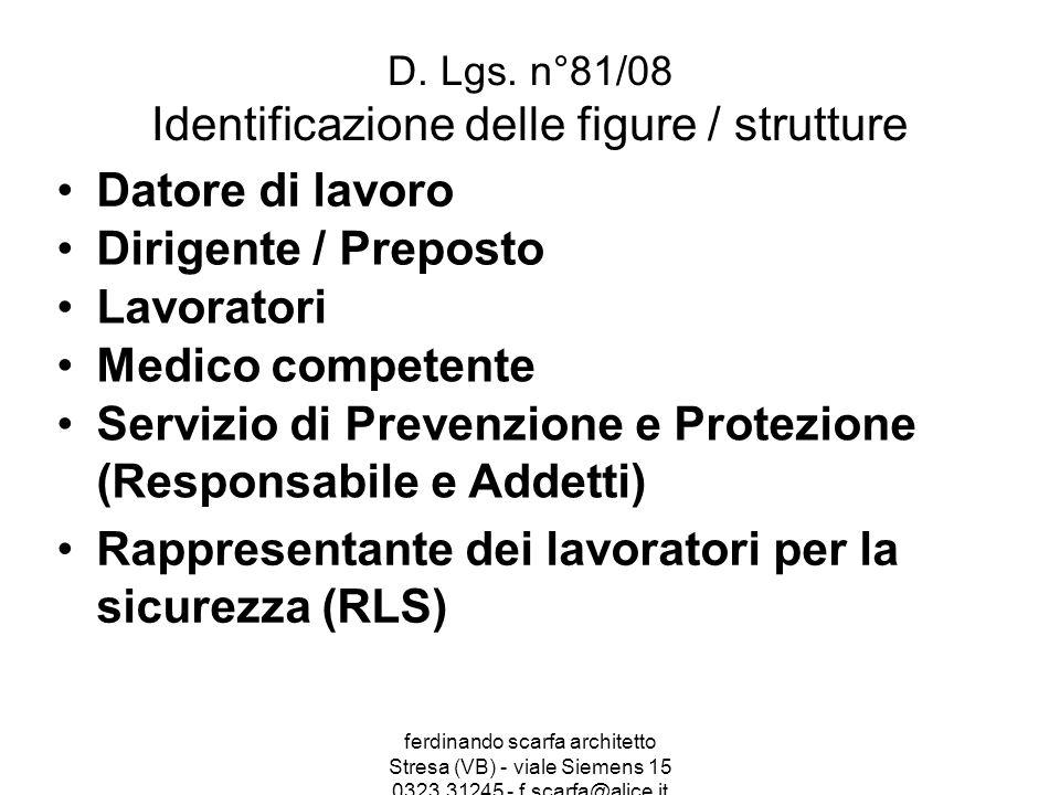 ferdinando scarfa architetto Stresa (VB) - viale Siemens 15 0323.31245 - f.scarfa@alice.it D. Lgs. n°81/08 Identificazione delle figure / strutture Da