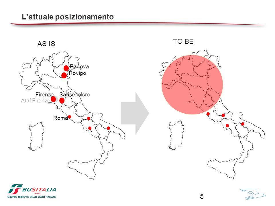 Rovigo Ataf Firenze SansepolcroFirenze Padova AS IS TO BE Roma L'attuale posizionamento 5