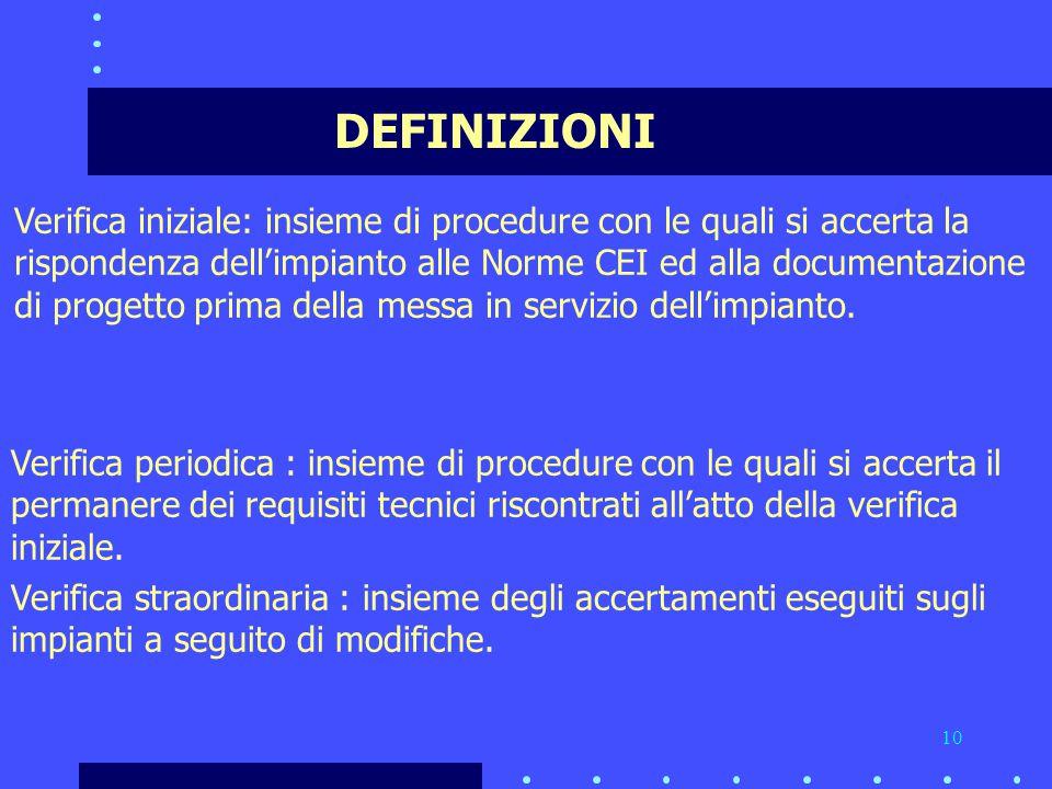10 DEFINIZIONI Verifica iniziale: insieme di procedure con le quali si accerta la rispondenza dell'impianto alle Norme CEI ed alla documentazione di progetto prima della messa in servizio dell'impianto.