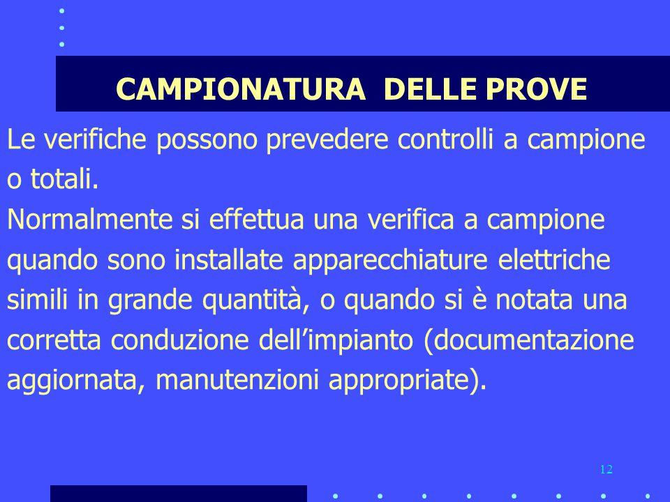 12 CAMPIONATURA DELLE PROVE Le verifiche possono prevedere controlli a campione o totali.
