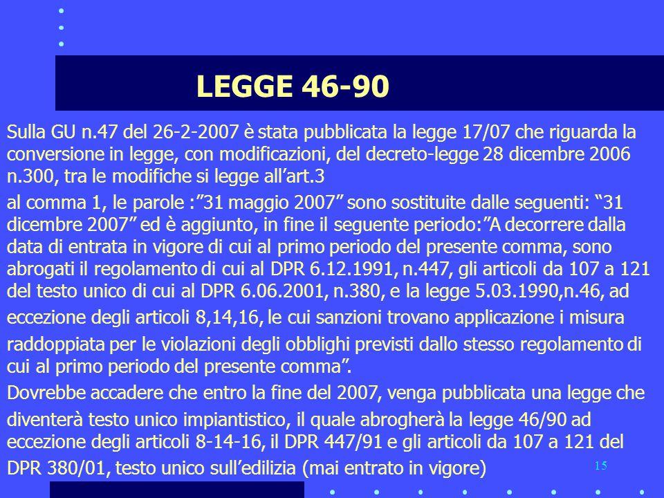 15 LEGGE 46-90 Sulla GU n.47 del 26-2-2007 è stata pubblicata la legge 17/07 che riguarda la conversione in legge, con modificazioni, del decreto-legge 28 dicembre 2006 n.300, tra le modifiche si legge all'art.3 al comma 1, le parole : 31 maggio 2007 sono sostituite dalle seguenti: 31 dicembre 2007 ed è aggiunto, in fine il seguente periodo: A decorrere dalla data di entrata in vigore di cui al primo periodo del presente comma, sono abrogati il regolamento di cui al DPR 6.12.1991, n.447, gli articoli da 107 a 121 del testo unico di cui al DPR 6.06.2001, n.380, e la legge 5.03.1990,n.46, ad eccezione degli articoli 8,14,16, le cui sanzioni trovano applicazione i misura raddoppiata per le violazioni degli obblighi previsti dallo stesso regolamento di cui al primo periodo del presente comma .