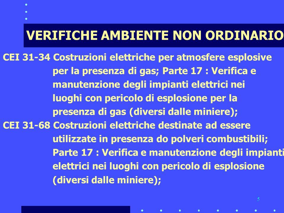 5 VERIFICHE AMBIENTE NON ORDINARIO CEI 31-34 Costruzioni elettriche per atmosfere esplosive per la presenza di gas; Parte 17 : Verifica e manutenzione degli impianti elettrici nei luoghi con pericolo di esplosione per la presenza di gas (diversi dalle miniere); CEI 31-68 Costruzioni elettriche destinate ad essere utilizzate in presenza do polveri combustibili; Parte 17 : Verifica e manutenzione degli impianti elettrici nei luoghi con pericolo di esplosione (diversi dalle miniere);