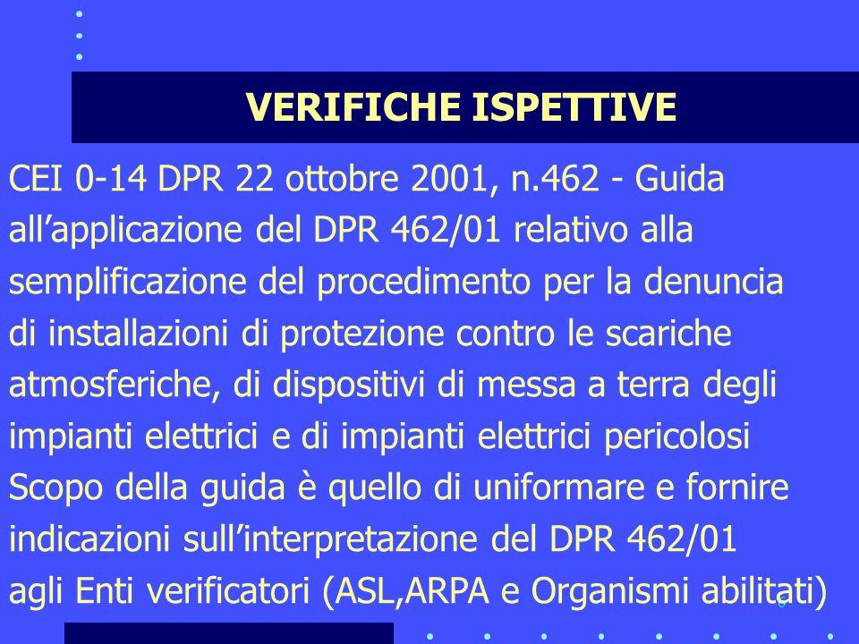 6 VERIFICHE ISPETTIVE CEI 0-14 DPR 22 ottobre 2001, n.462 - Guida all'applicazione del DPR 462/01 relativo alla semplificazione del procedimento per la denuncia di installazioni di protezione contro le scariche atmosferiche, di dispositivi di messa a terra degli impianti elettrici e di impianti elettrici pericolosi Scopo della guida è quello di uniformare e fornire indicazioni sull'interpretazione del DPR 462/01 agli Enti verificatori (ASL,ARPA e Organismi abilitati)