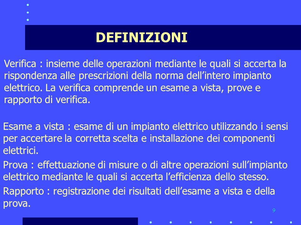 9 DEFINIZIONI Verifica : insieme delle operazioni mediante le quali si accerta la rispondenza alle prescrizioni della norma dell'intero impianto elettrico.