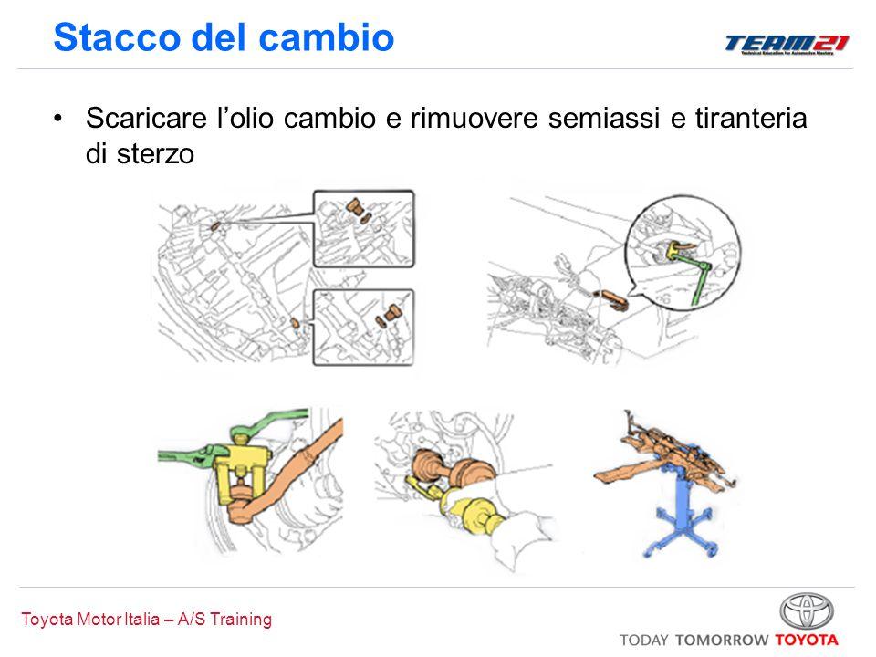 Toyota Motor Italia – A/S Training Stacco del cambio Scaricare l'olio cambio e rimuovere semiassi e tiranteria di sterzo