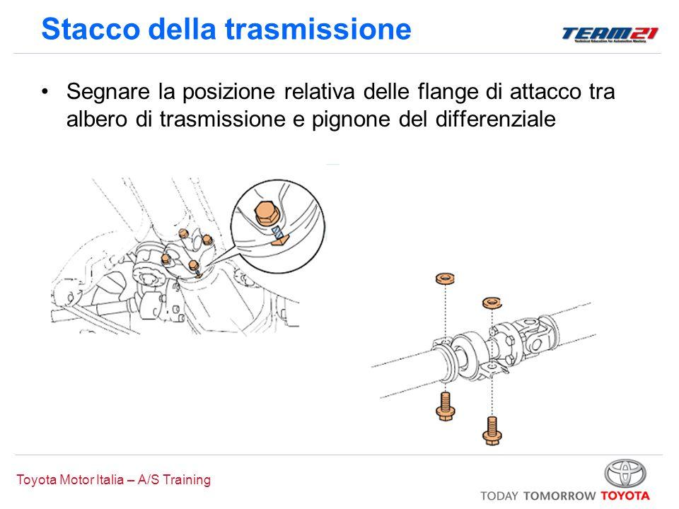 Toyota Motor Italia – A/S Training Stacco della trasmissione Segnare la posizione relativa delle flange di attacco tra albero di trasmissione e pignon