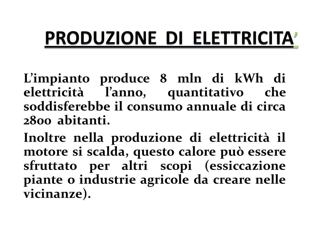 L'impianto produce 8 mln di kWh di elettricità l'anno, quantitativo che soddisferebbe il consumo annuale di circa 2800 abitanti. Inoltre nella produzi
