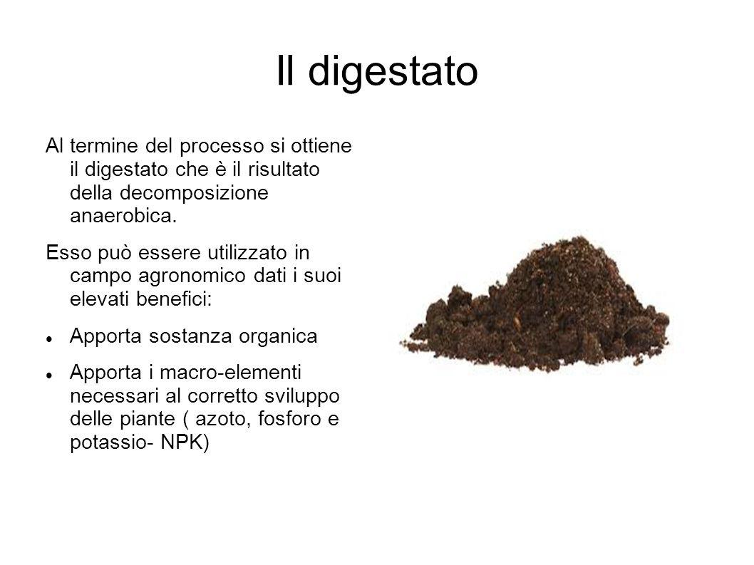 Il digestato Al termine del processo si ottiene il digestato che è il risultato della decomposizione anaerobica. Esso può essere utilizzato in campo a