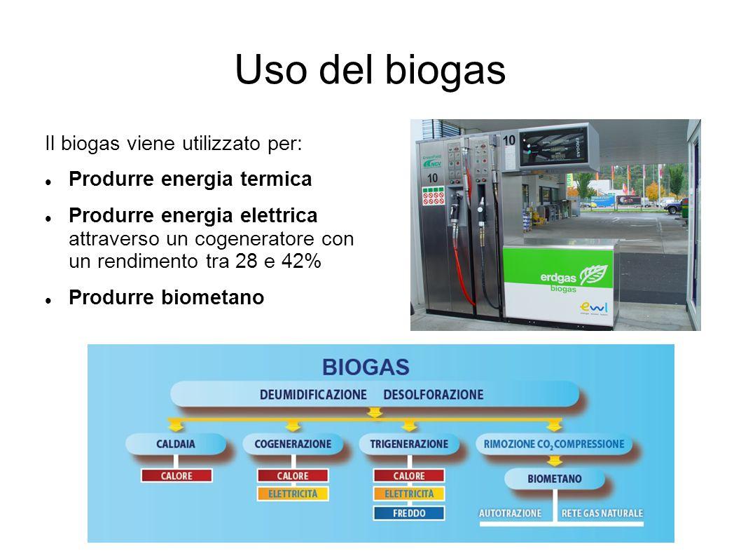 Uso del biogas Il biogas viene utilizzato per: Produrre energia termica Produrre energia elettrica attraverso un cogeneratore con un rendimento tra 28