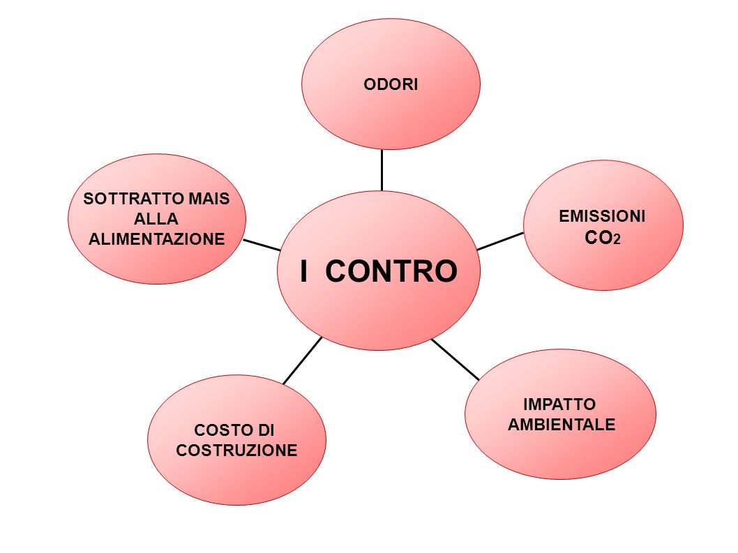 SOTTRATTO MAIS ALLA ALIMENTAZIONE COSTO DI COSTRUZIONE EMISSIONI CO 2 IMPATTO AMBIENTALE ODORI I CONTRO