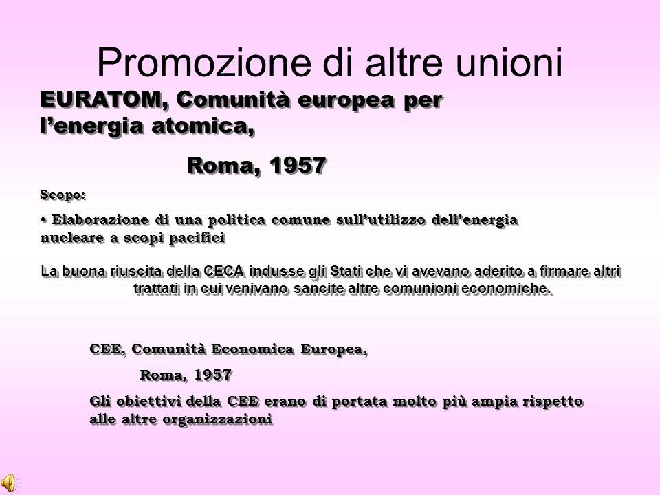 Obiettivi della CECA L'obiettivo principale era quello di unire le risorse carbosiderurgiche e gestirle in comunione grazie ad un organo indipendente dalle autorità degli Stati membri.