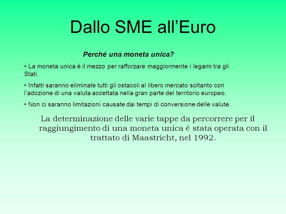 L'unione monetaria Lo SME, Sistema Monetario Europeo, rappresenta il primo passo verso l'unione monetaria. Introdotto nel 1979, poneva dei limiti ai r