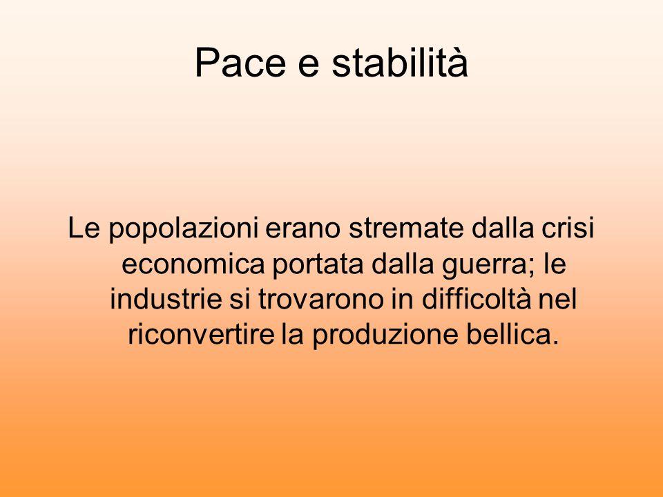 Pace e stabilità Le popolazioni erano stremate dalla crisi economica portata dalla guerra; le industrie si trovarono in difficoltà nel riconvertire la produzione bellica.