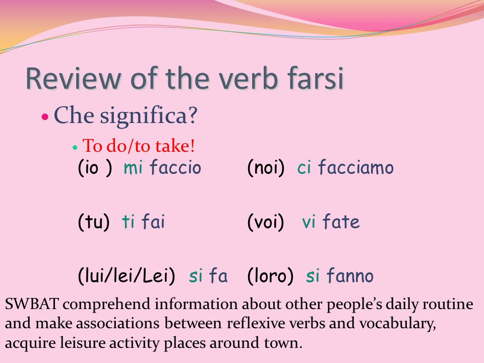 Review of the verb farsi Che significa. To do/to take.