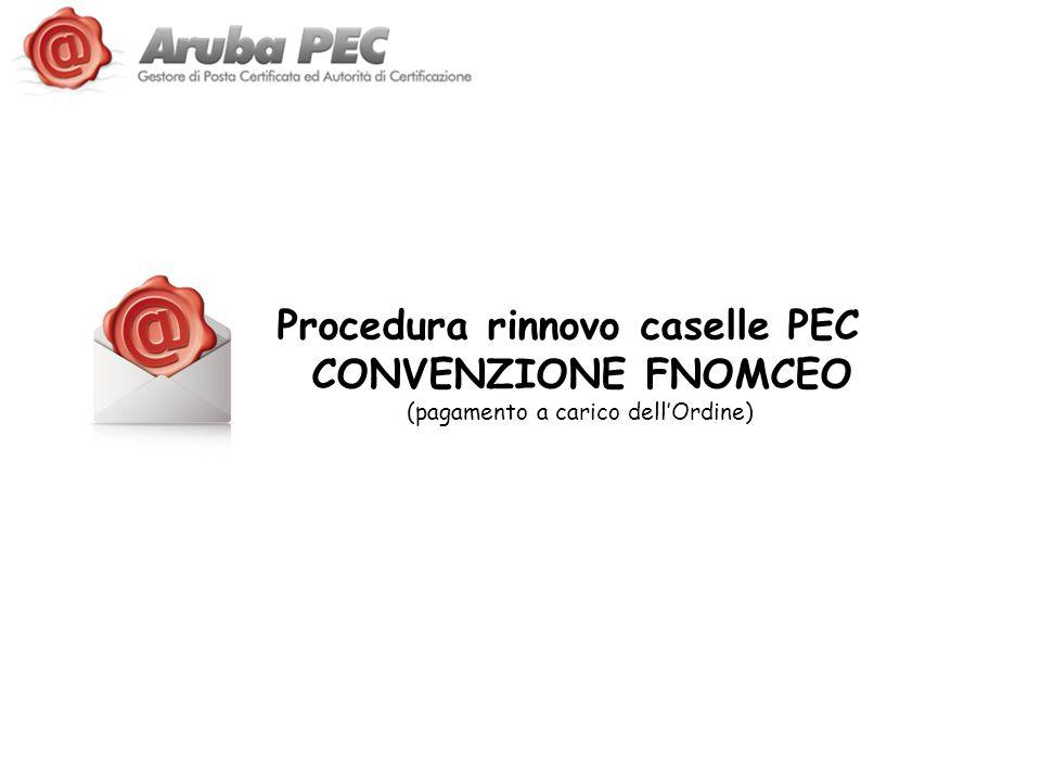 Procedura rinnovo caselle PEC CONVENZIONE FNOMCEO (pagamento a carico dell'Ordine)