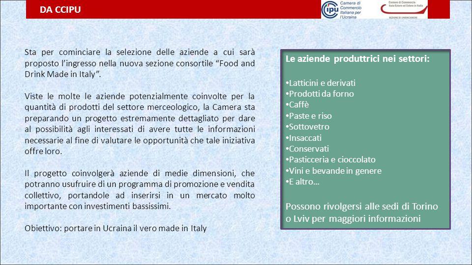 """DA CCIPU Sta per cominciare la selezione delle aziende a cui sarà proposto l'ingresso nella nuova sezione consortile """"Food and Drink Made in Italy"""". V"""