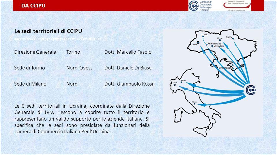DA CCIPU Le sedi territoriali di CCIPU ----------------------------------------------- Le 6 sedi territoriali in Ucraina, coordinate dalla Direzione G