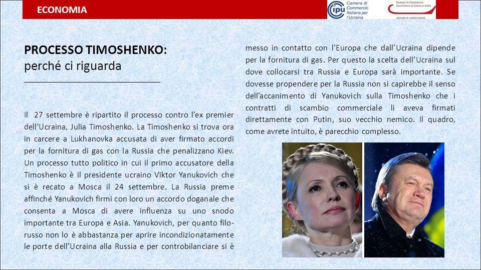 PROCESSO TIMOSHENKO: perché ci riguarda __________________________________ Il 27 settembre è ripartito il processo contro l'ex premier dell'Ucraina, J